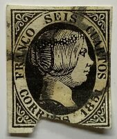 1851 SPAIN STAMP 6 CUARTO #6 ISABEL II IMPERF WITH UNIQUE YELLOWING