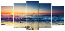 Wall Canvas Beach Sand Ocean Nautical Decor Art 5 Piece Framed Home Bedroom New