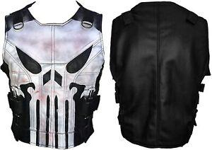 Punisher Castle Frank Real Leather Black Tactical Vest