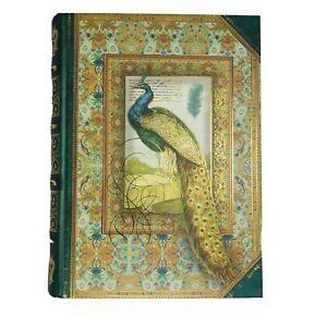 "Punch Studio Peacock Book Storage 8.5"" Green Gold Secret Storage Kirshner Arts"