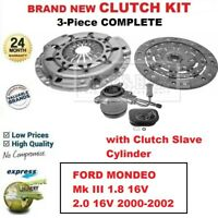 FOR FORD MONDEO Mk III 1.8 16V 2.0 16V 2000-2002 BRAND NEW 3-PC CLUTCH KIT + CSC