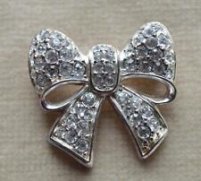 Vintage SWAN Mark Silvertone SWAROVSKI Clear Crystal BOW Shape Pin Brooch