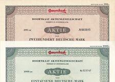 Lot/Set: 2 x Doornkaat Aktienges. 1953/1960 ü. 200/1000DM Norden/Ostfriesland