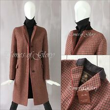 Auth Loro Piana OVERSIZE CASHMERE Wool Red Brown Tweed Long Coat Size IT40 S US4