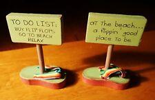 SET of 2 Rainbow Sandals Pool Flip Flops Tiki Bar Home Decor 2 Sided Signs NEW C