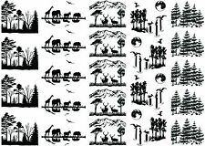 "Wildlife Scenes  5"" X 7"" Card Black Fused Glass Decals 17CC827"