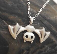 Adorable Bat Necklace - Silver Halloween Pendant Charm Casual Fashion Jewelry