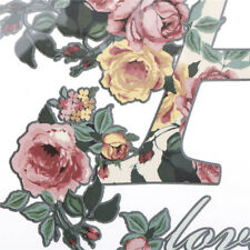 Letter Flower Transfer Iron On Patches For Clothes DIY Appliques Sticker Decor F