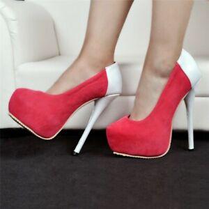 Womens Round Toe High Heel Platform Stiletto Slip On Nightclub Pumps Shoes 35-47