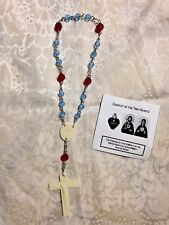 """NEW Hand-Made """"CHAPLET OF THE 2 HEARTS"""" & Prayer pamphlet NEW in PKG."""