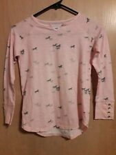 Tractr Girls Pink Gray Horse Print Top 10/12 Button Cuffs Long Sleeve size Med