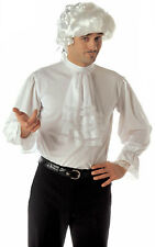 Mens White Georgian Regency Shirt Steampunk 80s New Romantic Fancy Dress Costume
