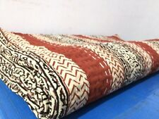 On Sale Kantha Quilt Handmade HandBlockd.Multi Queen Bedspread Blanket Throw.59