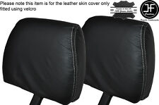 WHITE STICH 2X FRONT HEADREST SKIN COVERS FITS LAND ROVER DEFENDER 90 110 83-06