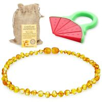 Raw Baltic Amber Teething Necklace for Babies - (Honey) Anti-Flammatory, Droo...