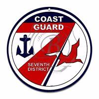 """US Coast Guard Seventh District Emblem Seal 12"""" Circle Aluminum Sign"""