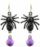 Zest Spider Halloween Earrings with Bell for Pierced Ears Black & Purple