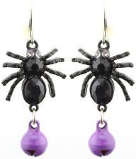 Zest Spider Halloween Earrings with Bell for Pierced Ears Black & Purple