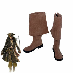 Pirates of the Caribbean Jack Sparrow Brown Boots Cosplay Shoes Custom Made