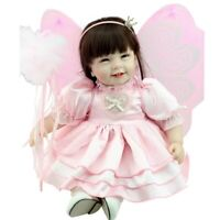 "22"" Soft Vinyl Baby Doll Pink Lifelike Silicone Reborn Butterfly Princess Dolls"
