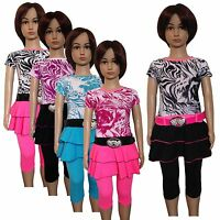 New Girls Tunic/ Dress /Top,Leggings& Belt 3 Piece Set /Summer Outfit 2-12ys #79