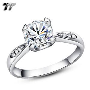 TT RHODIUM 925 Sterling Silver 1.25 Ct Engagement Wedding Ring (RW16)