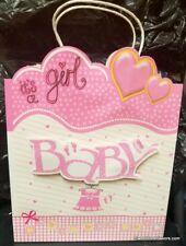 Pink Baby Girl Shower Party SWEET LARGE GIFT BAG 3D Clothesline Birthday 12x10 *