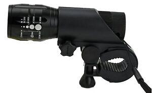 Zoom LED Taschenlampe Fahrrad Radsport Vorder Licht Scheinwerfer mit Halterung