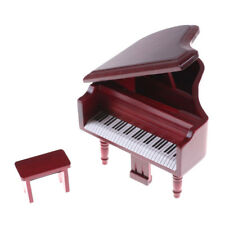 1:12 Dollhouse Miniature Red Wooden Grand Piano With Stool Model Play Toys HU