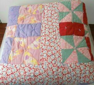"Vtg Handmade Patchwork Quilt Flour Sack Pink Purple Red Repair Cutter 87"" x 74"""