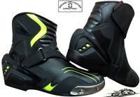 MENS HiViz & BLACK MOTORBIKE MOTORCYCLE RACING BOOTS SPORTS REAL LEATHER SHOES