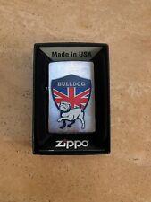 Genuine Zippo Lighter UK BULLDOG Design Brushed Chrome Exclusive Brand New