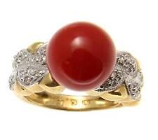 Genuino Natural Rojo Coral Bola Anillo con Diamante Sólido 18k Oro Amarillo