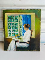 Antique Painting Victorian Woman by Window Reading Book Kansas Artist Oil Canvas