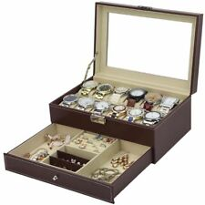 12 Grids Faux Leather Watch Box with a Jewellery Bracelets Rings Cufflink Drawer