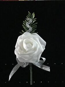 White Rose Button Hole With Fern ,silver Ribbon And Silver Twirl. Wedding. Prom.