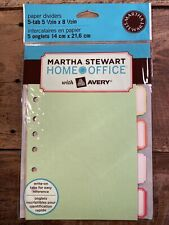 Martha Stewart Home Office Avery Paper Dividers 5 Tab 5 12 X 8 12 New