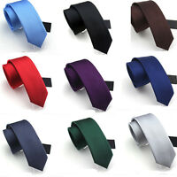 Men Classic Fashion Wedding Party Silk Suits Ties Solid Plain Woven Necktie Gift