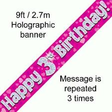 3RD BIRTHDAY PINK HOLOGRAPHIC HAPPY BIRTHDAY PARTY BANNER 2.7M (9FT) LONG