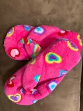 FLIP FLOP SLIPPERS PINK HEARTS SIZE ( 12-13, 3-4) YOUTH SOFT PLUSH SUPER CUTE!