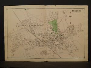 Massachusetts Middlesex County Map 1875 Reading, Double Page !Z4#11