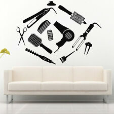 Wall Decal Hair Salon Beauty Mirror Lacquer Scissors Brush Curler Curling M739
