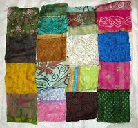 "LOT PURE SILK Vintage Sari Fabrics REMNANT 16 pcs 8"" SQUARES Mixed Colors CRAFT"