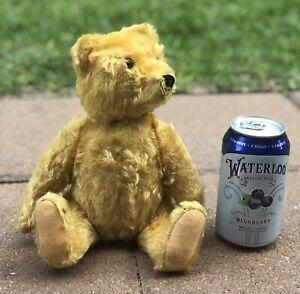 "Steiff? Teddy Bear Jointed Gold Blonde Mohair Hump Back Felt Paw Pads 10"""