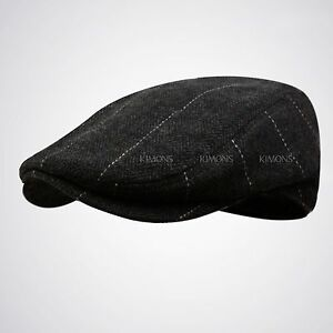WK Wool Tweed Plaid Ivy Herringbone Winter Cap Hat Golf Flat Cabbie Newsboy