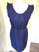 Oasis Dress Blue Belted 14 Viscose Cotton Linen Belted Lined Dress