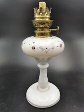 Belle lampe à pétrole ancienne en OPALINE signé D - old oil lamp
