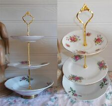 3 TIER PASTRY CAKE PLATE STAND DISPLAY MISMATCHED FLORAL