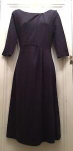 Deep Plum Coloured Midi Length Dress by LK Bennet Size 12