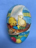 "6.25"" Vtg Western Germany Paper Mache Easter Egg Candy Container Chicks Sailboat"